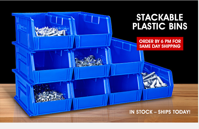 Uline - STACKABLE PLASTIC BINS - Order by 6 PM for Same Day Shipping
