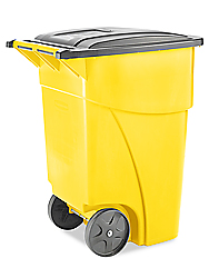 Rubbermaid® Trash Can with Wheels - 50 Gallon, Yellow H-1107Y - Uline