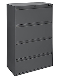 Lateral File Cabinet, 4 Drawer - Black