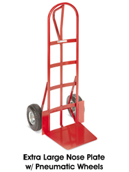 Loop Handle Steel Hand Truck With Extra Large Nose Plate - Pneumatic