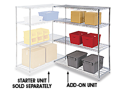 "Adjustable Open Wire Shelving Add-On Unit, 60 x 24 x 63"" - Chrome"