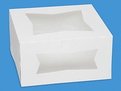 "8 x 8 x 4"" White Window Cake Boxes"