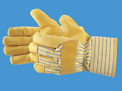 Deluxe Leather Palm Gloves with Safety Cuff