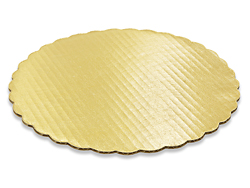 "10"" Round Gold Scalloped Cake Pad"