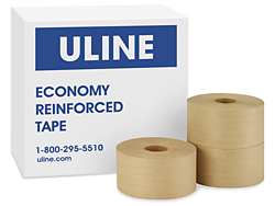 "3"" x 375' Uline Economy Kraft Sealing Tape"