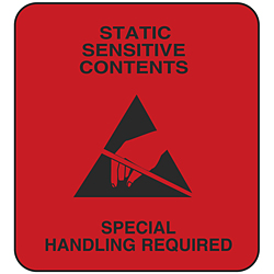 "2 x 3"" Static Warning Labels - ""Static Sensitive Contents"""