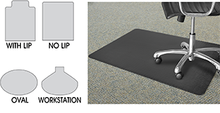 Chair Mat Shapes & Chair Mats Chair Mats for Carpet Office Chair Mats in Stock - ULINE