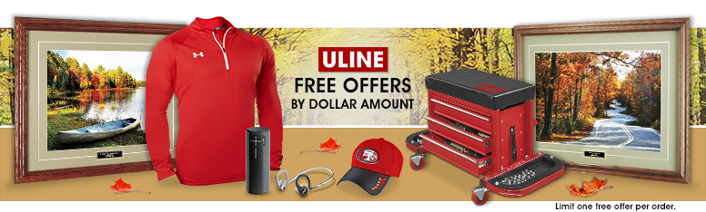 Uline free offers by dollar amount limit one per order