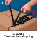 2. Sealer - Closes seals on strapping