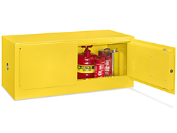 Stackable Flammable Storage Cabinet Manual Doors Yellow