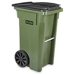 Uline Trash Can With Wheels 35 Gallon Green H 4202g
