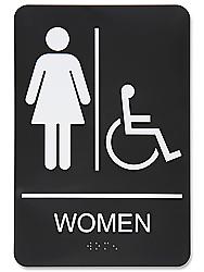 Women S Handicap Restroom Sign Plastic Black S 15598bl